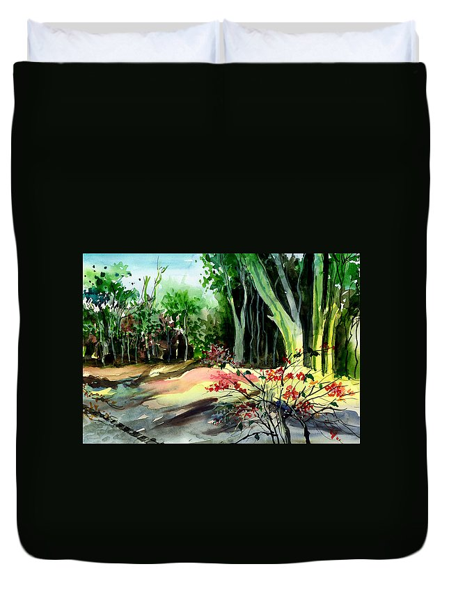 Watercolor Duvet Cover featuring the painting Light In The Woods by Anil Nene