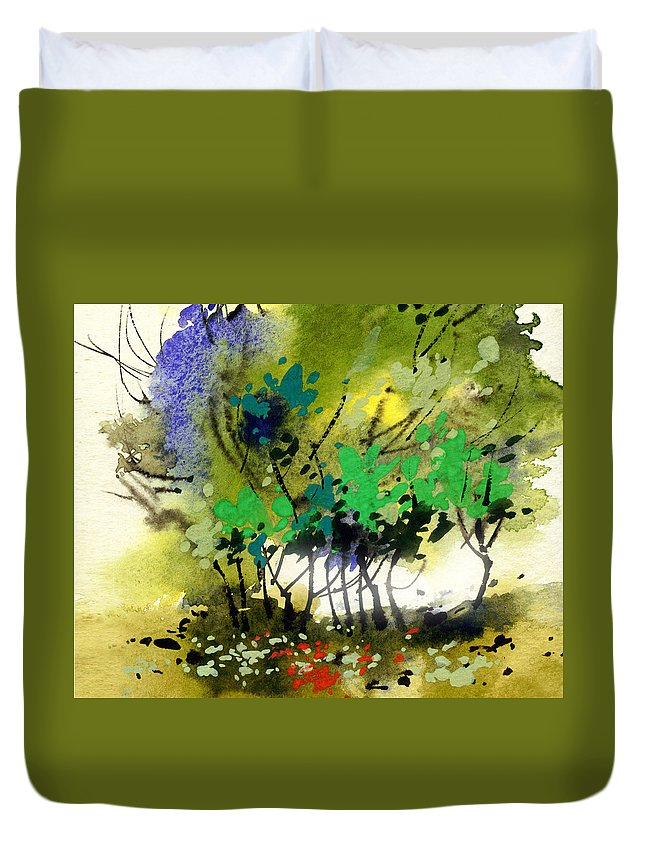 Nature Duvet Cover featuring the painting Light In Trees by Anil Nene