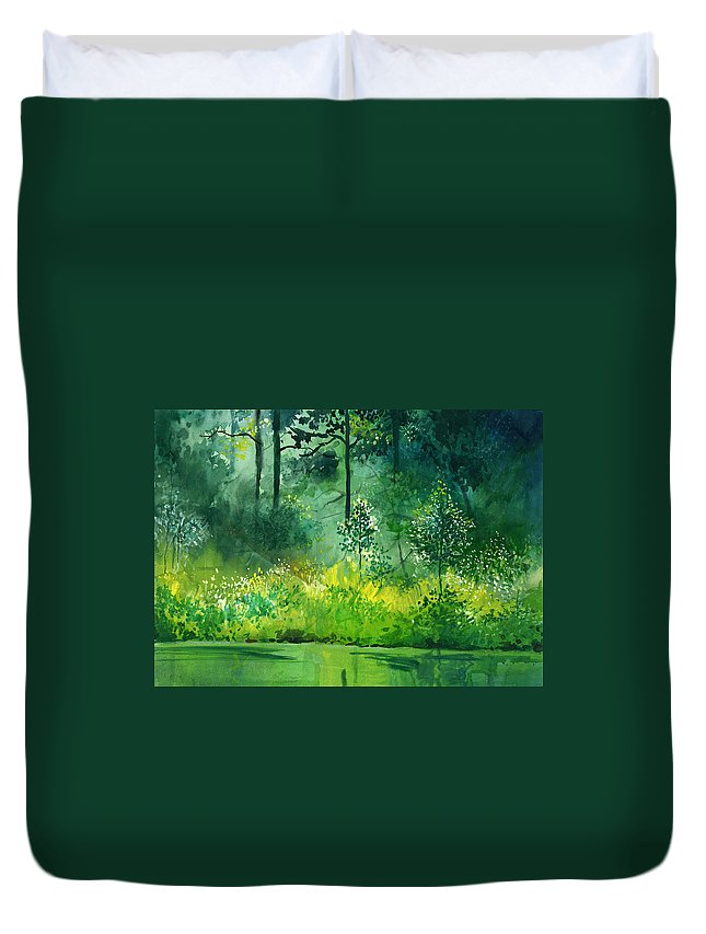 Water Duvet Cover featuring the painting Light N Greens by Anil Nene