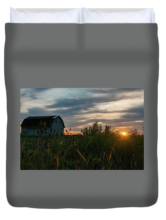 Barn Duvet Cover featuring the photograph Light Of Hope by Angela Mocniak