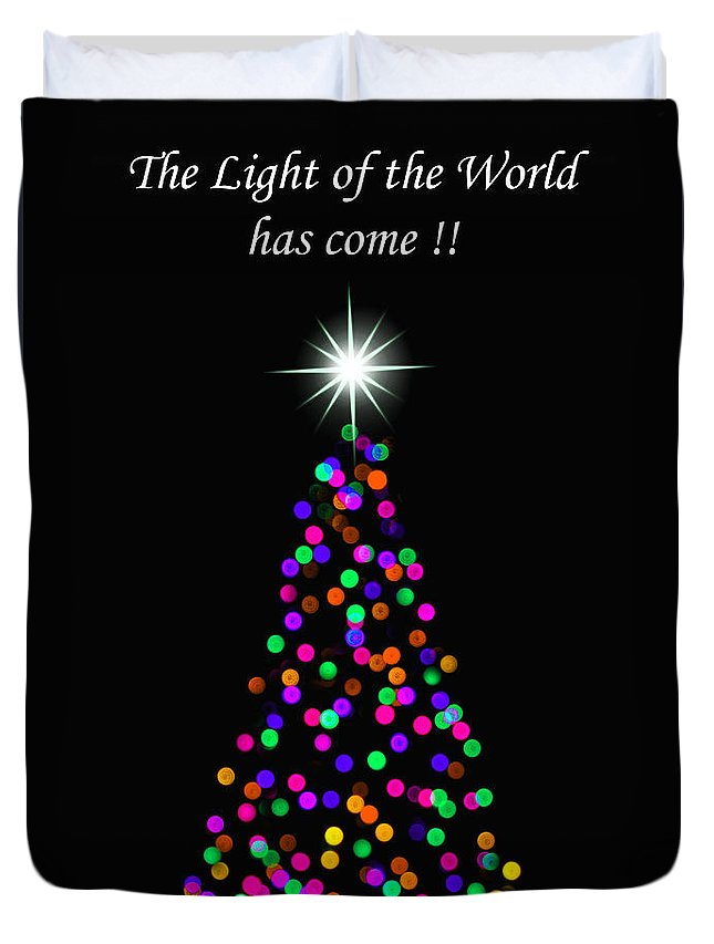 Light Of The World Christmas Card Duvet Cover featuring the photograph Light Of The World Christmas Card by Carolyn Derstine