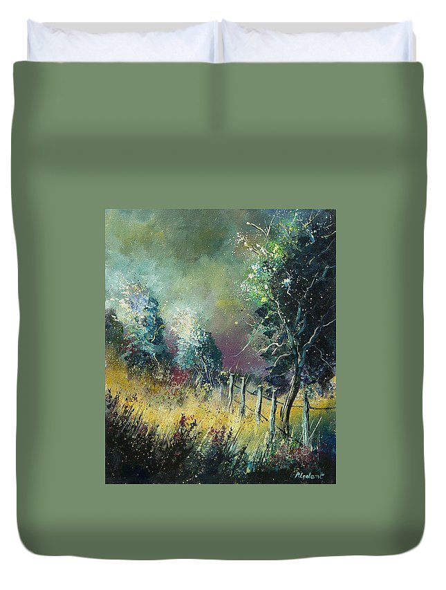 Landscape Duvet Cover featuring the painting Light On Trees by Pol Ledent