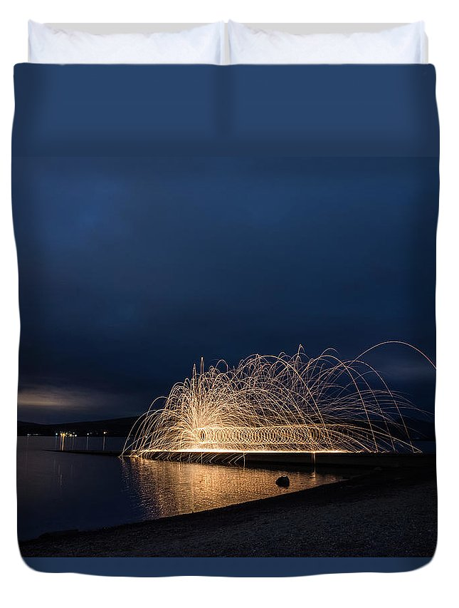 Architecture Duvet Cover featuring the digital art Light Painting by Gary Ellis