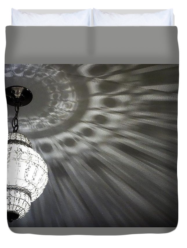 Light Chandelia Landscape Ceiling Shadows Duvet Cover featuring the photograph Light by Rosamund Smears