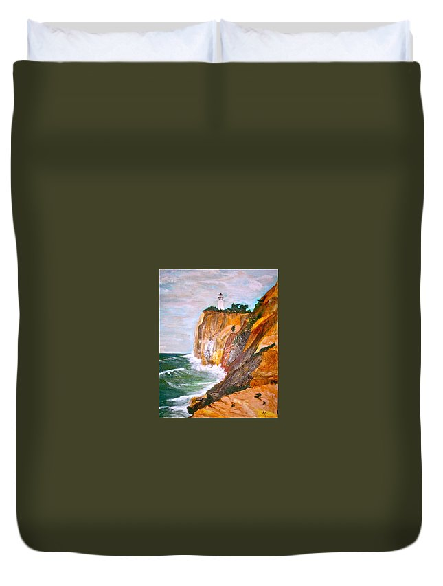 Lite House On Central Coast In California Duvet Cover featuring the painting Light The Way by Nipper Suntrapak