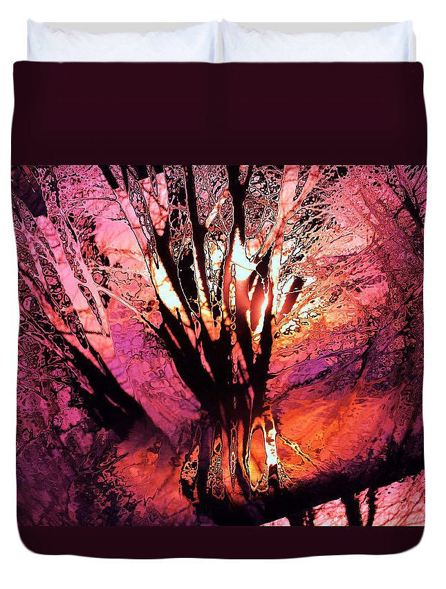 Trees Duvet Cover featuring the photograph Light Through The Trees by Jeff Swan