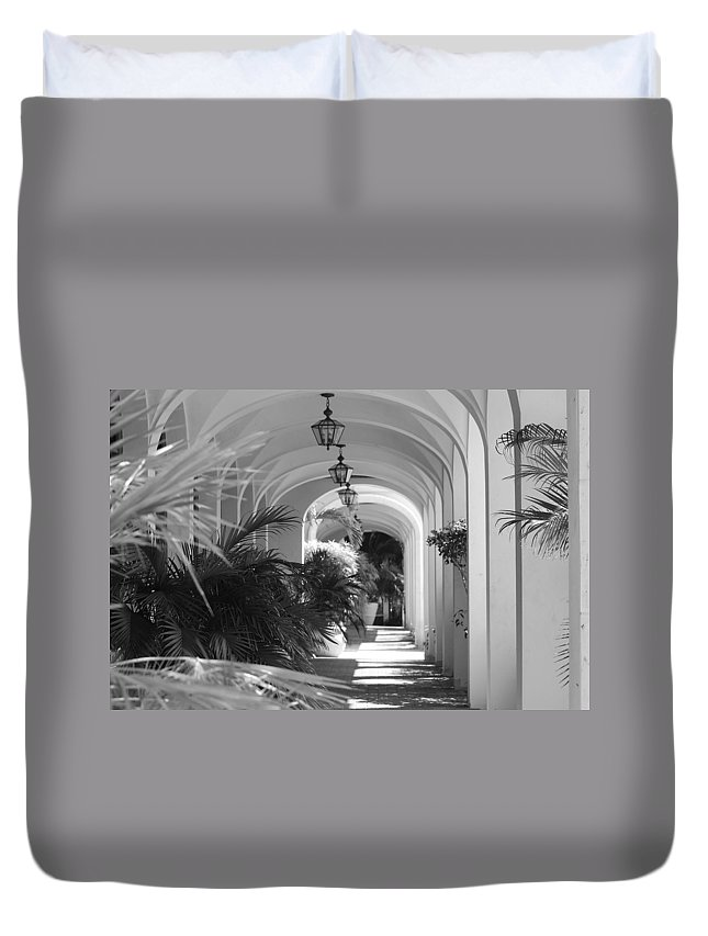 Architecture Duvet Cover featuring the photograph Lighted Arches by Rob Hans