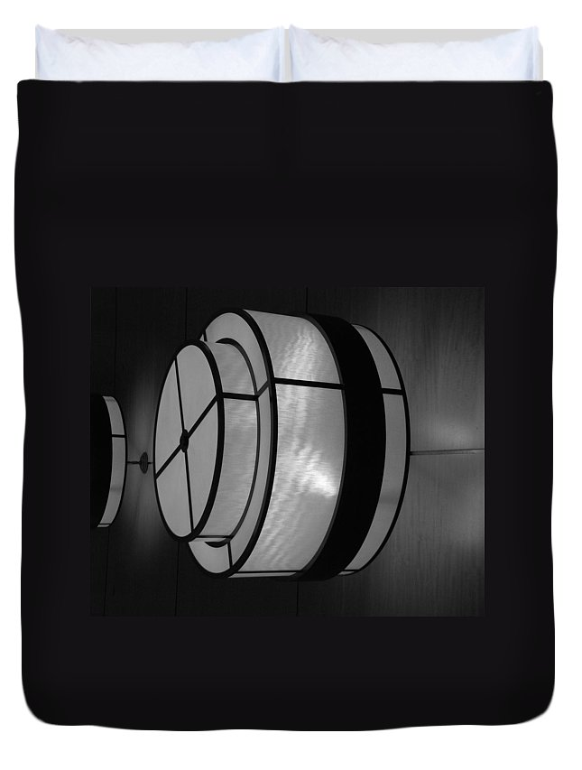 Black And White Duvet Cover featuring the photograph Lighted Wall In Black And White by Rob Hans