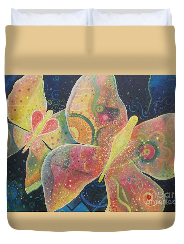 Butterfly Duvet Cover featuring the painting Lighthearted by Helena Tiainen