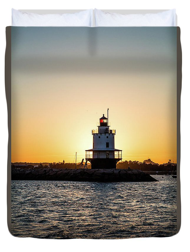 Light House Duvet Cover featuring the photograph Lighthouse At Sunset by Mary Swann