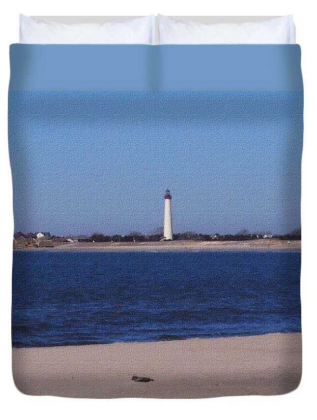 Lighthouse Duvet Cover featuring the photograph Lighthouse At The Point by Pharris Art