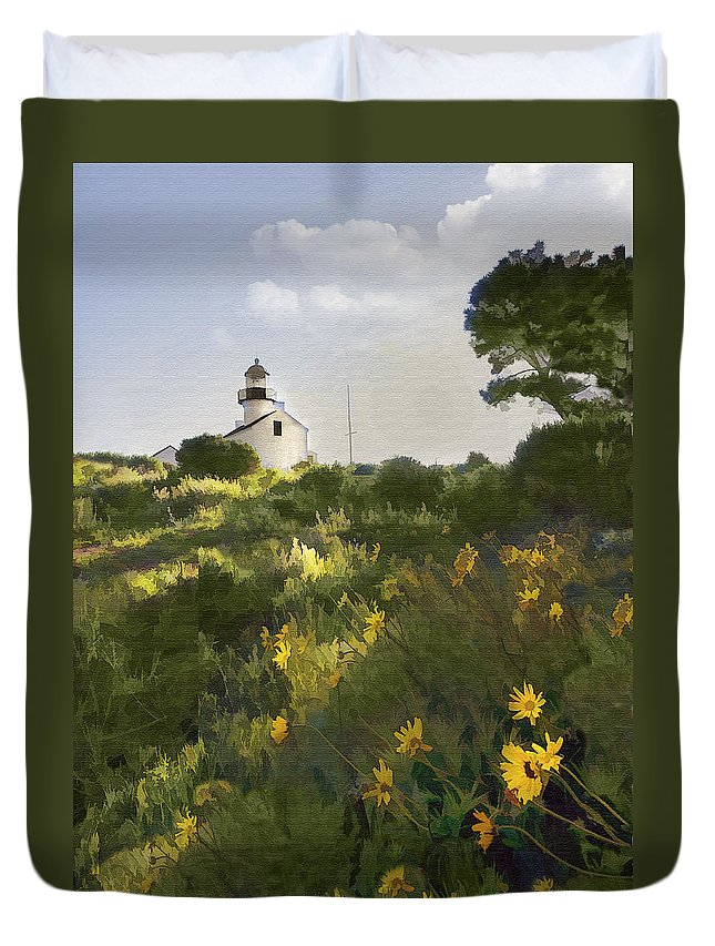 Lighthouse Duvet Cover featuring the digital art Lighthouse Daisies by Sharon Foster