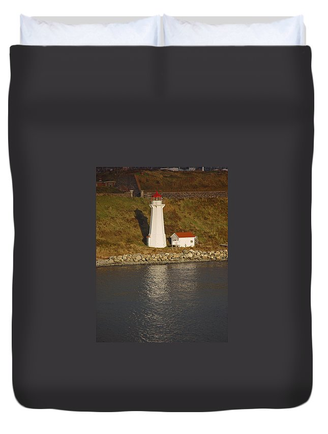 Lighthouse Duvet Cover featuring the photograph Lighthouse In Maine by Heather Coen