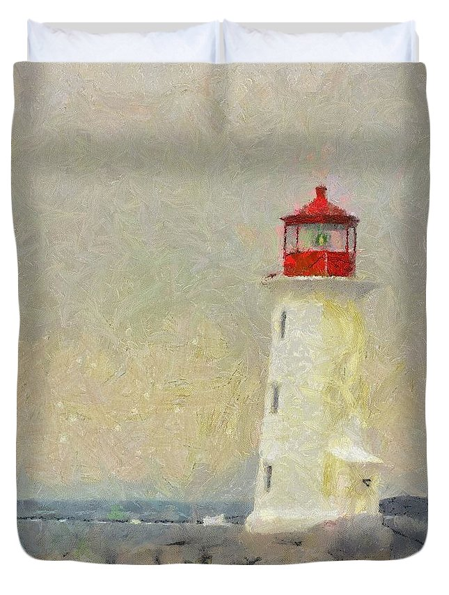 Canadian Duvet Cover featuring the painting Lighthouse by Jeffrey Kolker