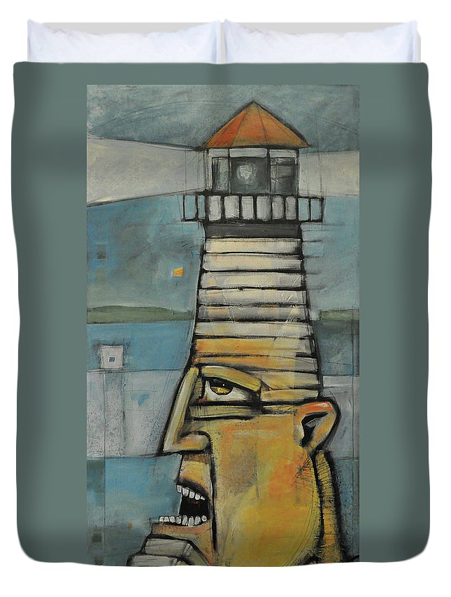 Man Duvet Cover featuring the painting Lighthouse Keeper by Tim Nyberg