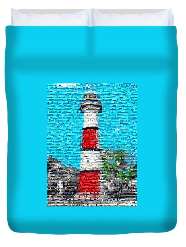 Blue Duvet Cover featuring the mixed media Lighthouse Made Of Lighthouses Mosaic by Paul Van Scott