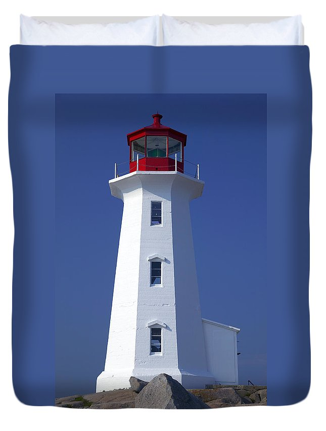 Lighthouse Duvet Cover featuring the photograph Lighthouse Peggy's Cove by Garry Gay