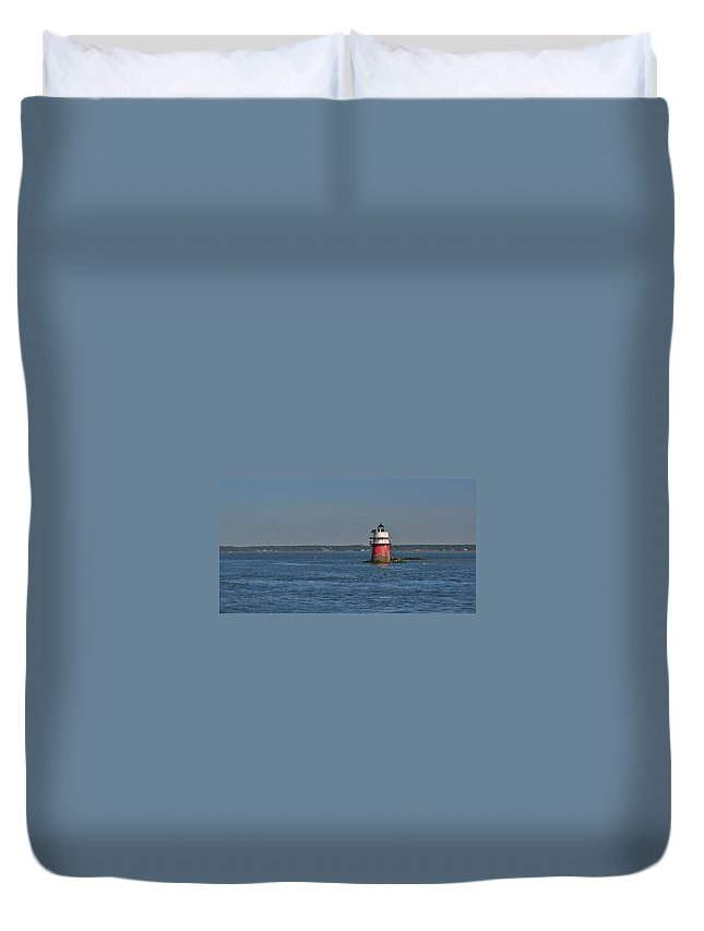Light House Duvet Cover featuring the pyrography Lighthouse Plymouth by Calvin Nelson