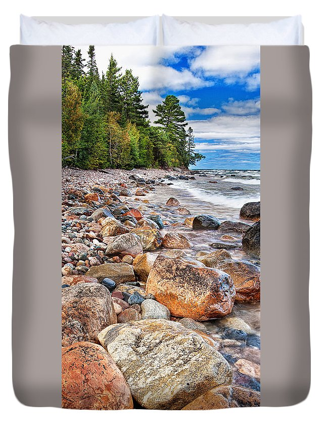 Rocks Duvet Cover featuring the photograph Lighthouse Point by Tim Trombley