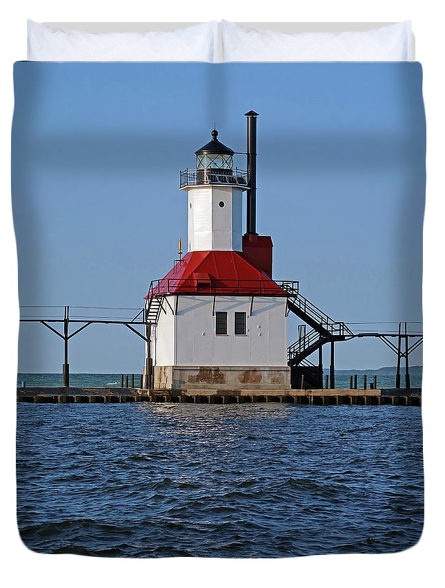 Lighthouse Duvet Cover featuring the photograph Lighthouse Restored by Ann Horn