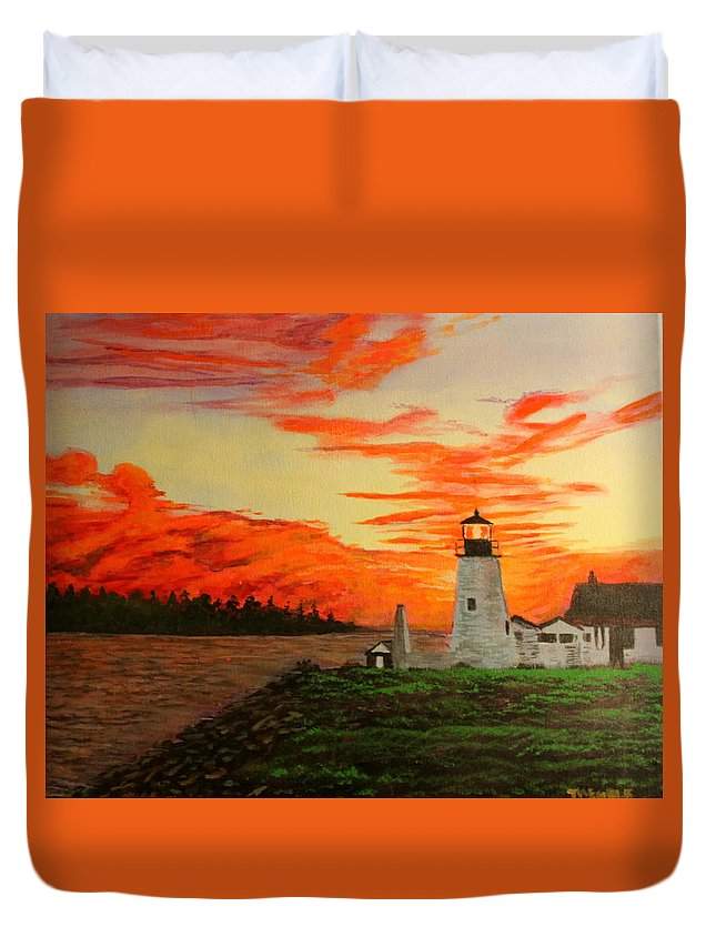 Lighthouse Duvet Cover featuring the painting Lighthouse by William Tremble
