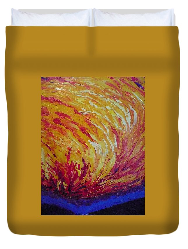 Fire Duvet Cover featuring the painting Lighting A Match by Ericka Herazo