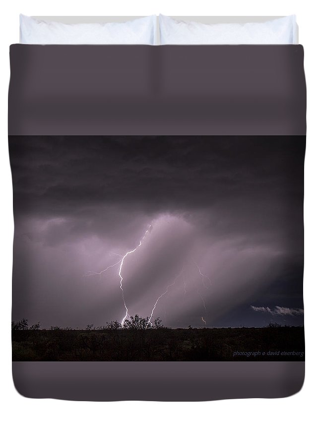Lightning Duvet Cover featuring the photograph Lightning 1 Willow Springs Road 8 31 2015 by David Eisenberg