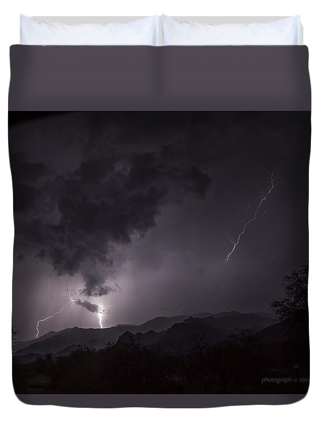 Lightning Duvet Cover featuring the photograph Lightning 2 Catalina State Park 7 17 2015 by David Eisenberg