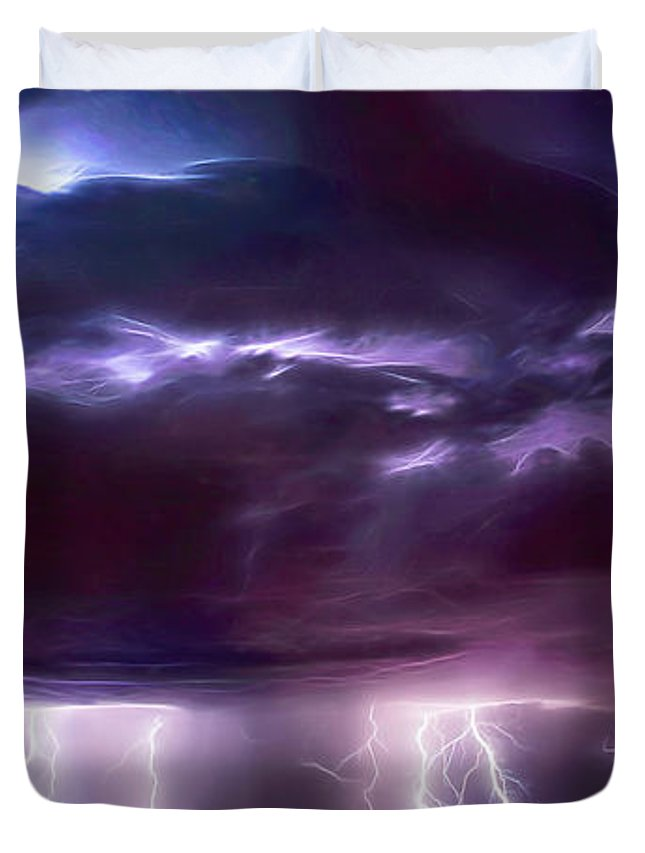 Lightning Duvet Cover featuring the photograph Lightning Above And Below by Kathleen Prince