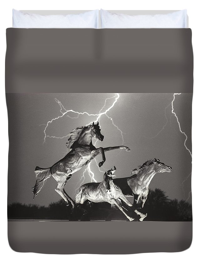Horses Duvet Cover featuring the photograph Lightning At Horse World by James BO Insogna