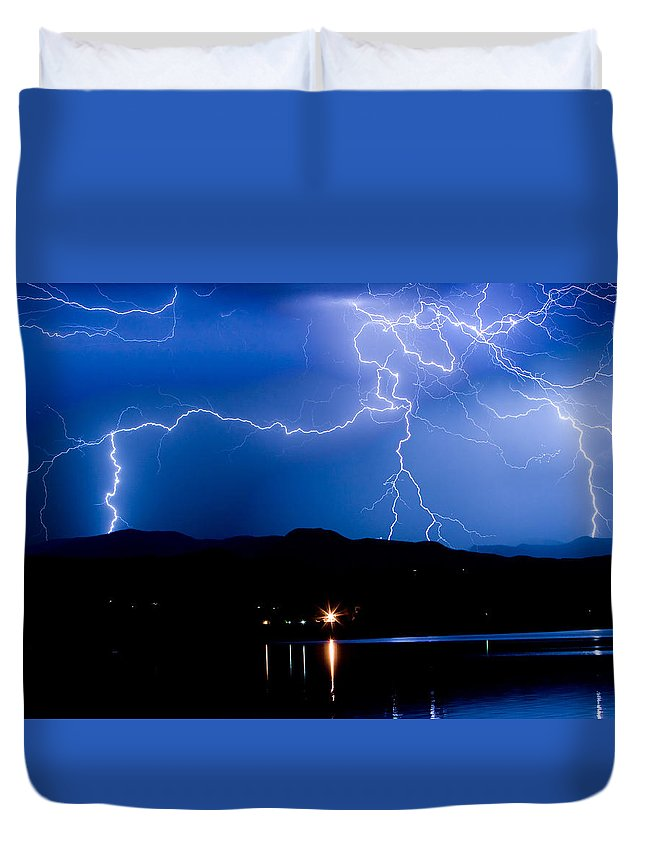 Lightning Duvet Cover featuring the photograph Lightning Blues by James BO Insogna