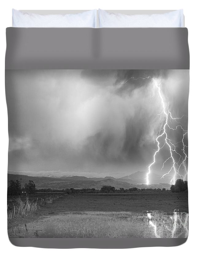 Lightning Duvet Cover featuring the photograph Lightning Bolts Striking Longs Peak Foothills 6bw by James BO Insogna