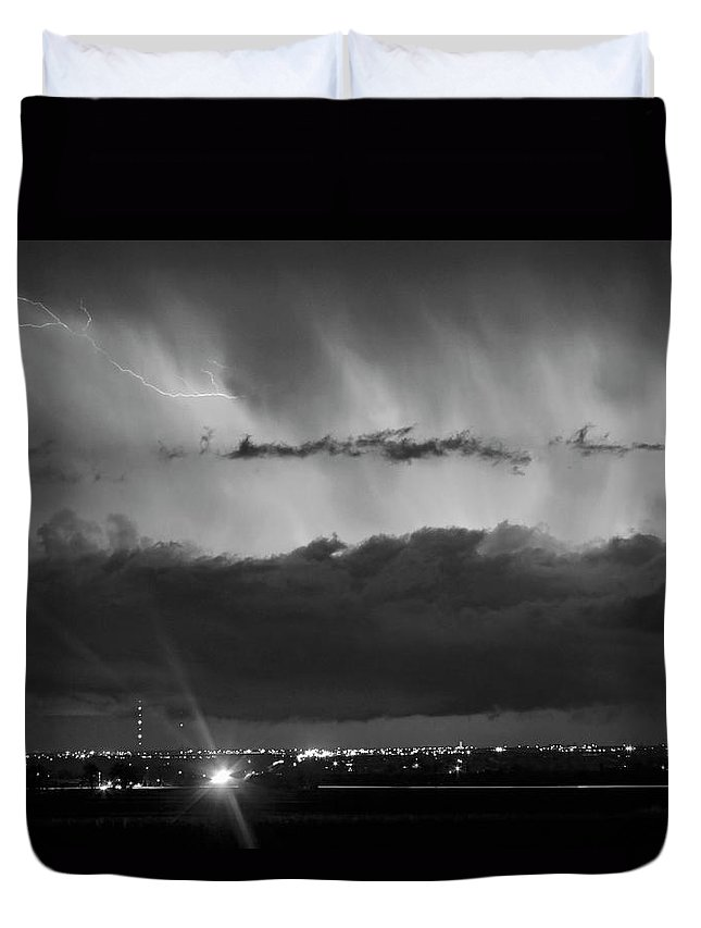 Cloudburst Duvet Cover featuring the photograph Lightning Cloud Burst Black And White by James BO Insogna