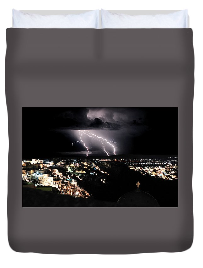 Night Duvet Cover featuring the photograph Lightning During A Thunderstorm On The Island Of Santorini, Greece by Yuri Hope