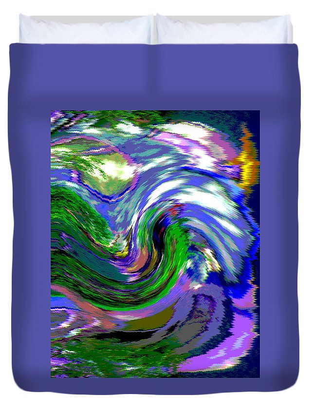 Abstract Duvet Cover featuring the digital art Lightning On Ocean by Lenore Senior