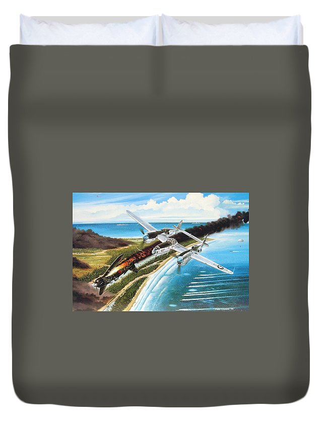 Aviation Duvet Cover featuring the painting Lightning Over Mindoro by Marc Stewart
