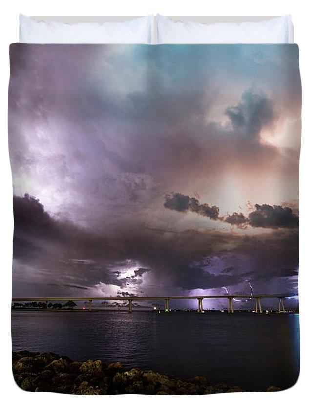Sanibel Duvet Cover featuring the photograph Lightning Over The Sanibel Bridge by Jon Neidert