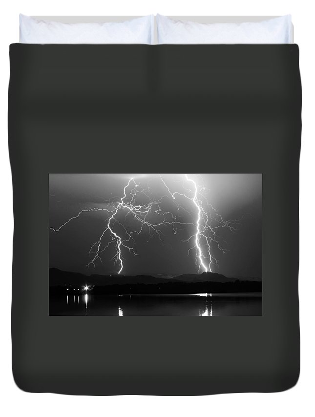 Lightning Duvet Cover featuring the photograph Lightning Storm 08.05.09 Bw by James BO Insogna