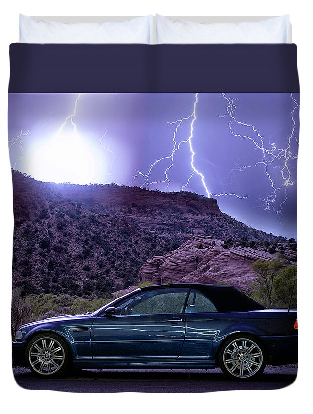 Bmw Duvet Cover featuring the photograph Lightning Storm by Aaron Acker