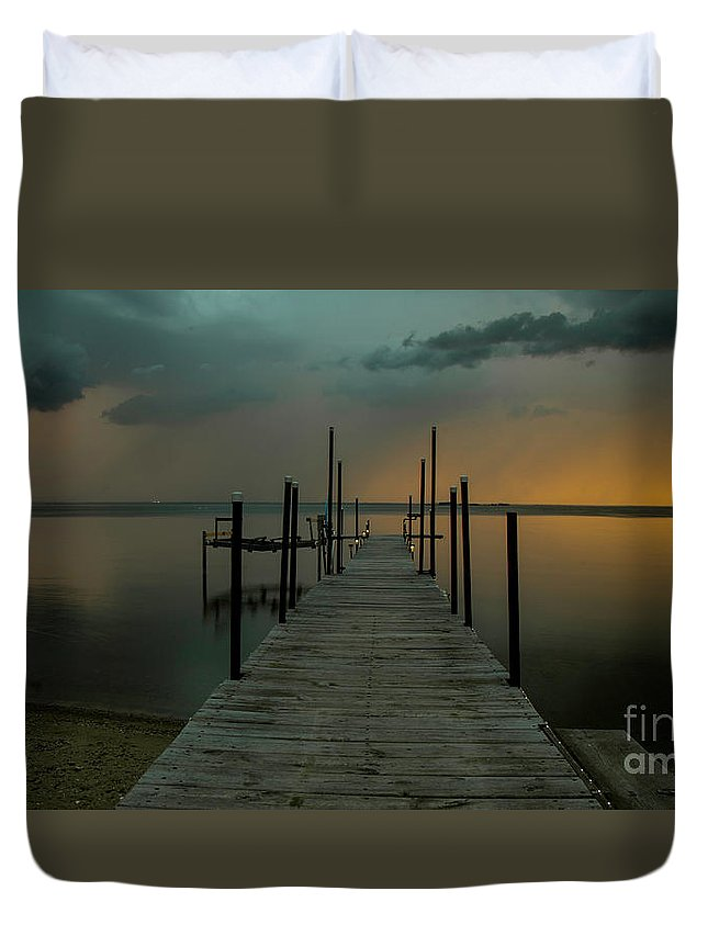 Lightning Duvet Cover featuring the photograph Lightning Strikes Across The Water by Randy Kostichka