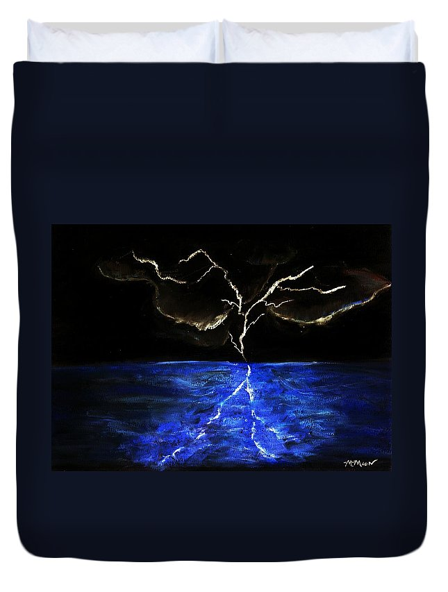 Lighting Duvet Cover featuring the drawing Lightning Strikes by Melvin Moon