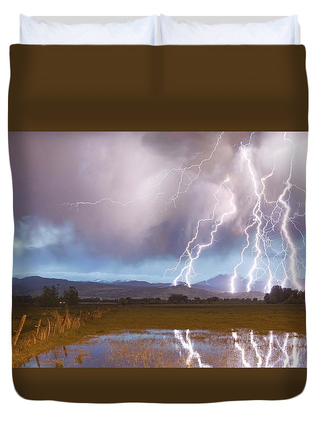 Awesome Duvet Cover featuring the photograph Lightning Striking Longs Peak Foothills 4 by James BO Insogna
