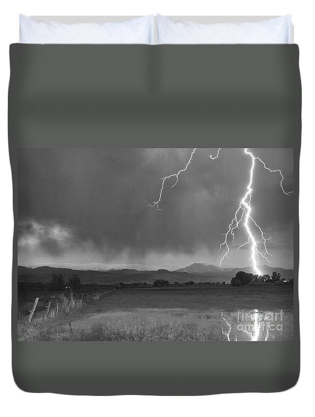 Lightning Duvet Cover featuring the photograph Lightning Striking Longs Peak Foothills 5bw by James BO Insogna
