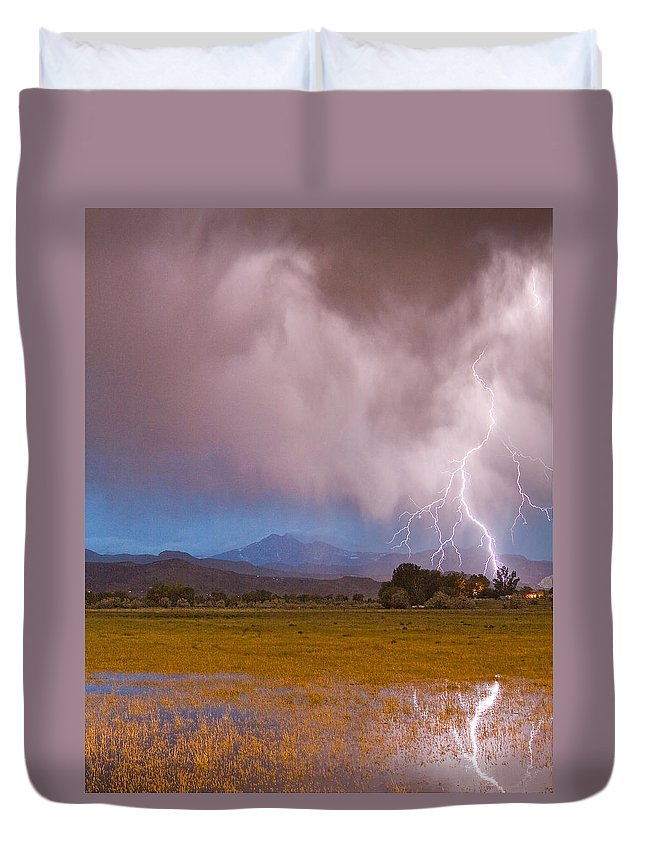 Lightning Duvet Cover featuring the photograph Lightning Striking Longs Peak Foothills 7c by James BO Insogna