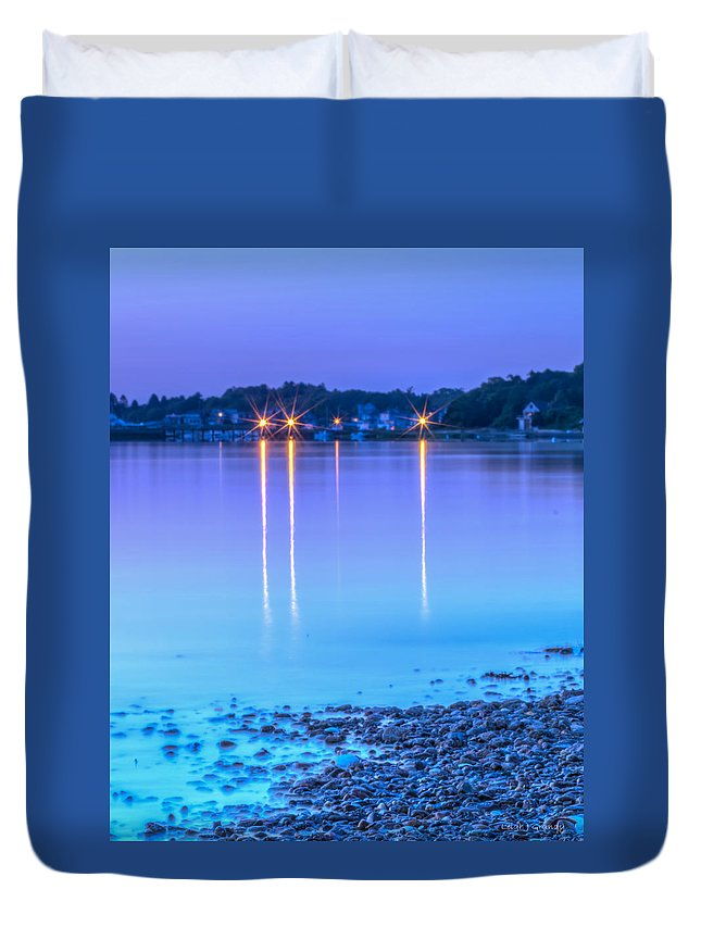 Cape Sunsets Duvet Cover featuring the photograph Lights Across The Bay by Leigh Grundy