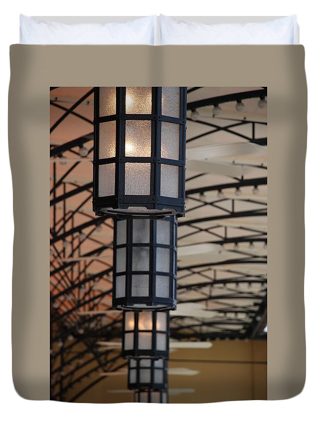 Architecture Duvet Cover featuring the photograph Lights At City Place by Rob Hans