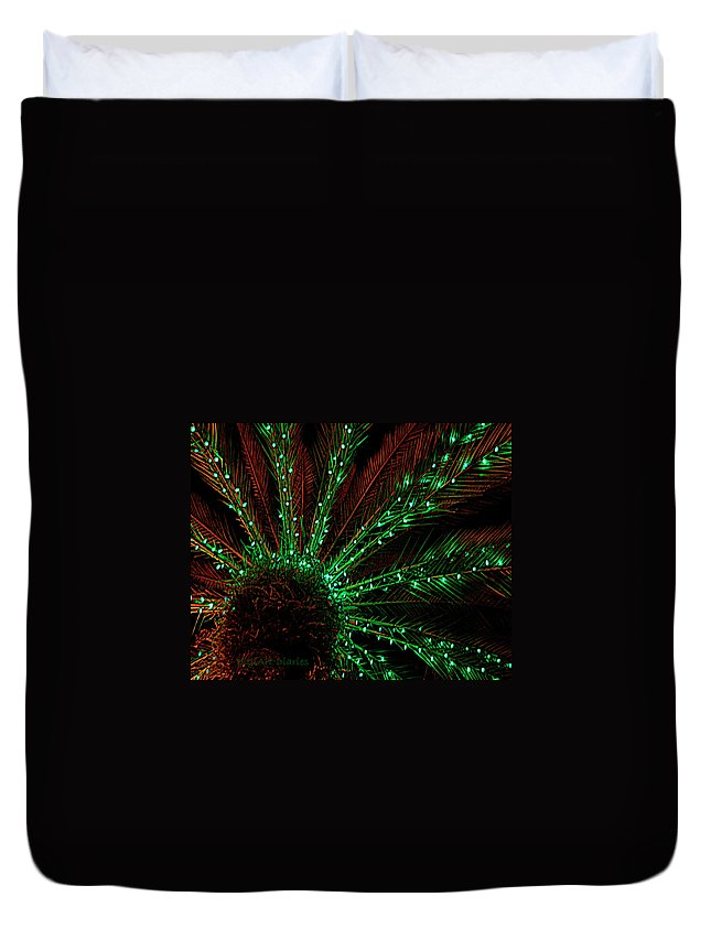 Lights Duvet Cover featuring the digital art Lights Beneath The Fronds by DigiArt Diaries by Vicky B Fuller