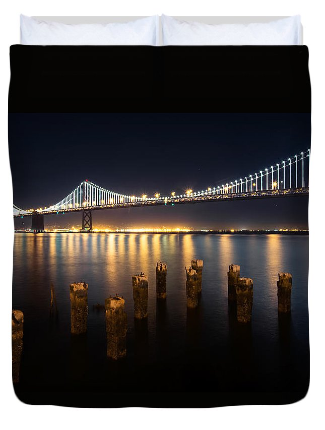 Architecture Duvet Cover featuring the photograph Lights By The Bay by Laura Macky