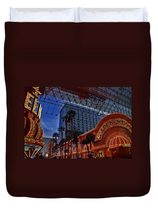 Photography Duvet Cover featuring the photograph Lights In Down Town Las Vegas by Susanne Van Hulst