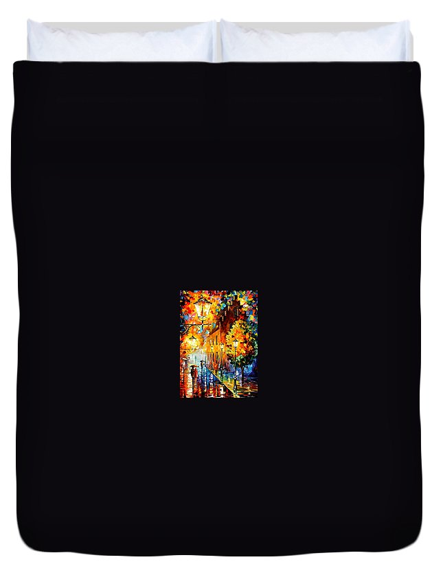 Afremov Duvet Cover featuring the painting Lights In The Night by Leonid Afremov